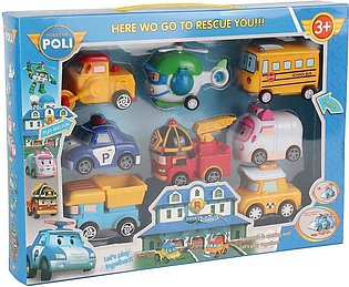 8-in-1 Robot Cars Toy Pull Back Vehicle Set Educational for Children multicolor
