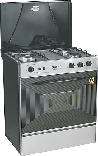 Welcome 3 Burner Gas Cooking Range Wc-777 - Black And Grey
