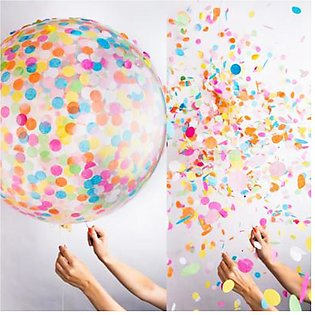 """36"""" Round Confetti Balloons Latex Balloons Filled with Colorful Crepe Paper for…"""