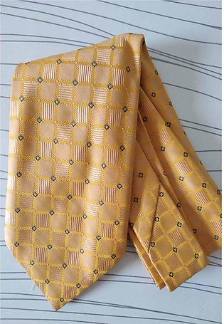 Golden Check Silk Tie