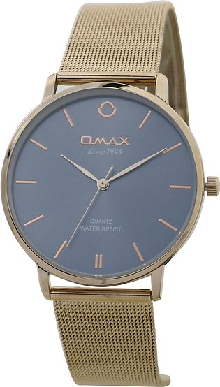 Omax Blue Dial Gold Leather Strap Watch for Woman-HXM01R98I