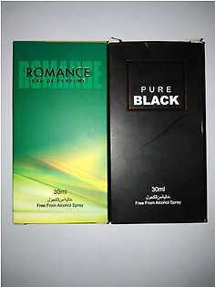 2 bottles perfume of alkohl free pure black and romance of 30 ml each