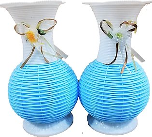 Pack of 2 Plastic Artificial Bouquet Flower Vase Home Garden Table Container De…