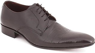 Black Leather Dundee Shoes For Men