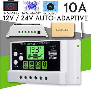 10A 12V/24V Auto Solar Charge Controller Generator With USB Ports Backlight Dis…
