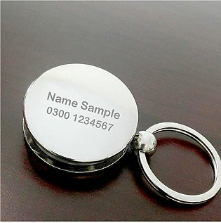 Exclusive Round Shape Metal Keychain With Torch & Customized Name Engraving