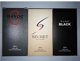 3 bottles perfume of alkohl free havoc secret and pure black of 30 ml each