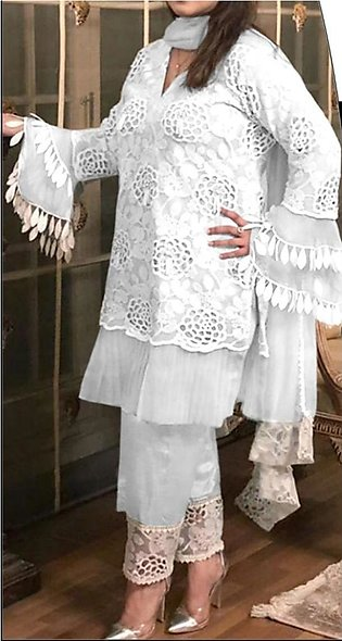 Fancy Jaquard Shiffli Embroidered Unstitched Dress For Women