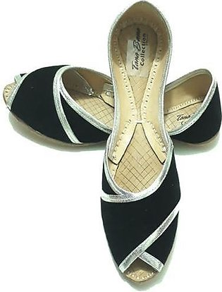 Leather Khussa Shoes for Women K-023-Black