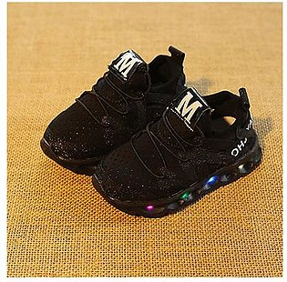 M Spring Led Children Shoes With Light Kids Casual shoes Boys Girls 21-25 Size-black 24