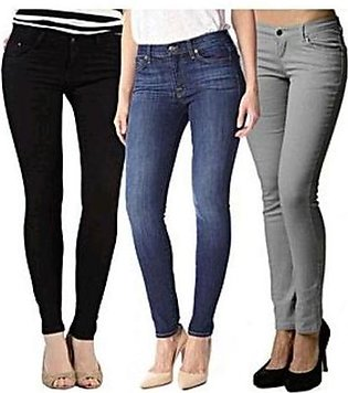 Multicolor Denim Stretchable Women Jeans Pack Of 03