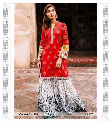 Sc 1236 Latest PAKISTANI DRESS Mid Summer and winter LADIES 2 PIECE Linen Collection UNSTITCTED Suit