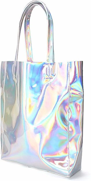 【Special Sale】Women Girls Holographic Silver Shopping Bag Shoulder Tote Handb...