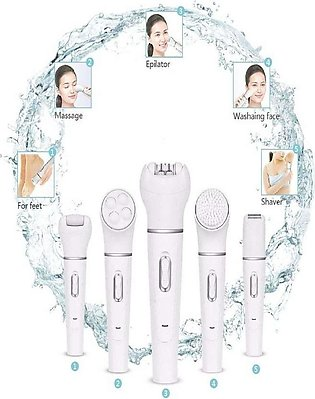 5 in 1 Electric Shaver Hair Removal Epilator Women Shaver Face Cleansing Brush …