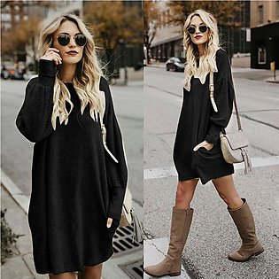 Fashion Women Solid O-Neck Pocket Long Sweater Long Sleeve Casual Loose Pullover