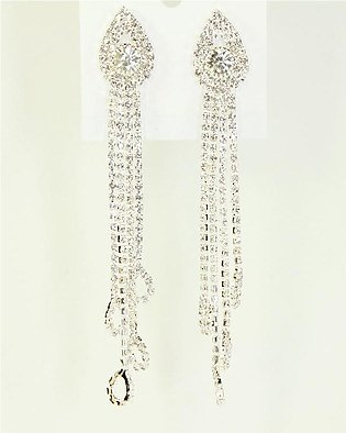 Fancy Long Silver Earring with light Green stone and beads
