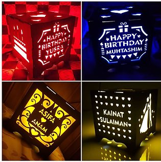 Wooden lamp with LED light - Customized lamp with your own text