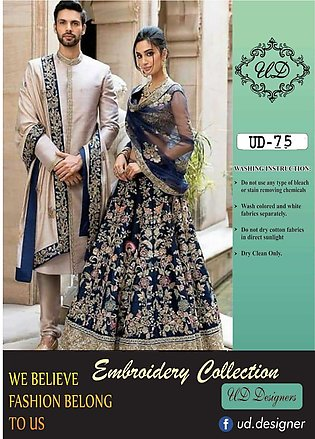 unstitched chiffon embroidered suit for women 3 piece