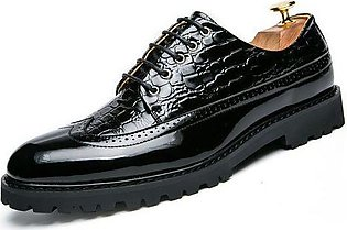 Genuine Leather Formal Brogue Shoes Men Casual Carving Flower Shoes (Black)