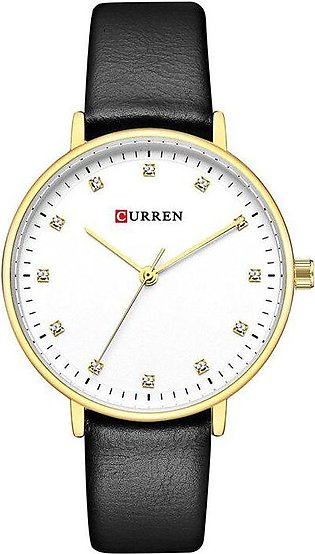 CURREN Womens Watches Charming Rhinestone Analog Quartz Wristwatch with Leath...