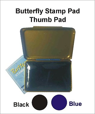 Butterfly Stamp Pad in Black & Blue Colors Regular Size for Office Bank & Per...