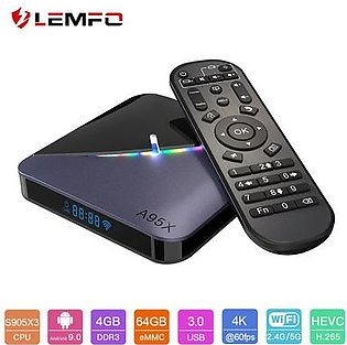 A95X F3 S905X3 RGB 64GB 4GB Light Smart Android TV Box Android 9.0 Support Plex 4K Airplay & Miracast Mali-G31 Set Top Box
