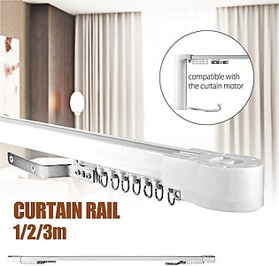 9.8 Ft Straight Curtain Drapery Hanging Track Rail Top Sliding Mounting Rod