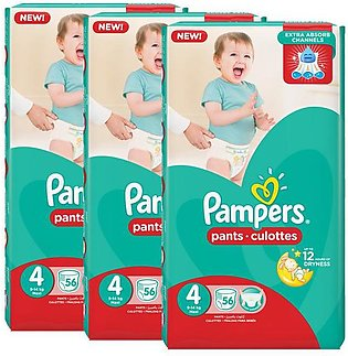 Pampers Pack of 3 Baby Dry Diapers Pants Size 4, 56 Count