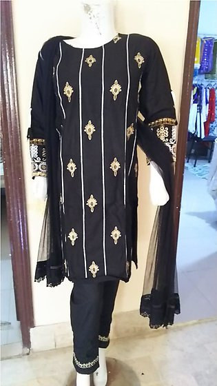 Black color embroidered & stitched 3 piece suit for females stuff cotton by A-J…