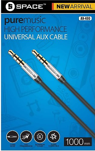 space Aux cable 1 M- BLACK