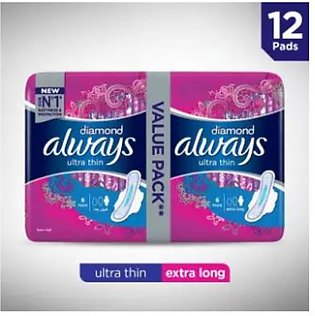 Always Diamonds Ultra Thin Sanitary Pads, Extra Long, Value Pack (One Day Del...