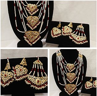 Bridal Gold Style Complete Set of jewellery With  Heavy Mala for Weddings,Par...