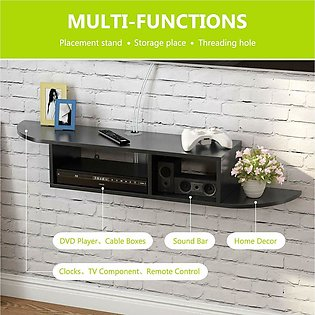 2 Tier Modern Wall Mount Floating Shelf TV Console for Cable Boxes/Routers/Remo…