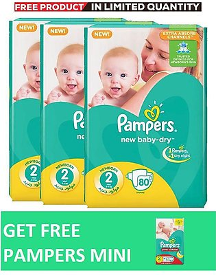 Pampers Pack of 3 Baby Dry Diapers Mega Pack Size 2, 80 Count