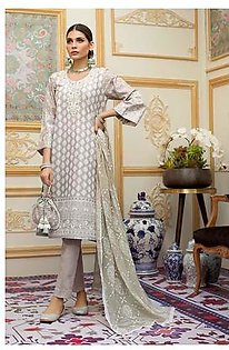 """GA - GUL Ahmed-Eid Collection 2019 Light Grey Embroided -3PC Unstitched-FE-207-203483"""""""