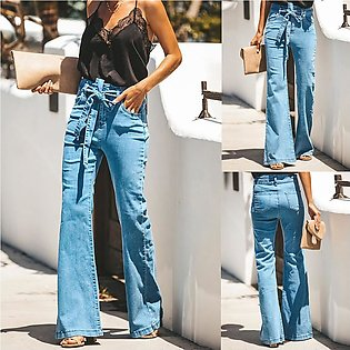 ◇Good Look◇Fashion Women High Waist Bell-bottoms Trousers Jeans Flare Pants L...