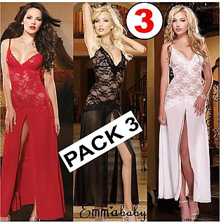 Pack Of 3 Night Dress Lace Nightgown With Penty Long Nightwear Nighty For Sleep…