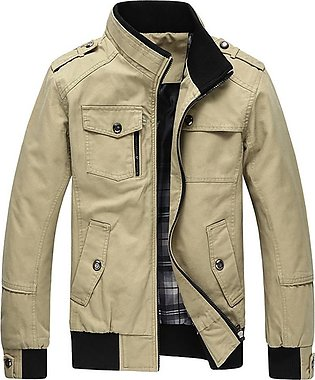 Men Leisure Jacket Zipper Casual Coat Fashionable Stand Collar Outerwear