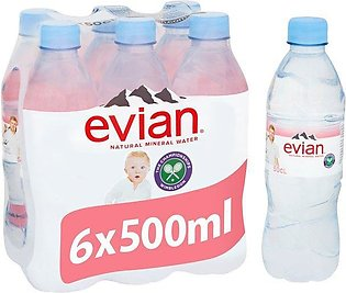 PACK OF 6 : EVIAN NATURAL MINERAL WATER 500ML IMPORTED