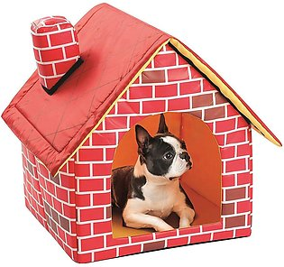 Portable Brick Pet House With Chimney Warm And Cozy Dog Cat Bed Tent