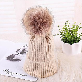 Winter Dark Buckle Mohair Knitted Hat Korean Pure Color Warm Rolling Edge Lady …
