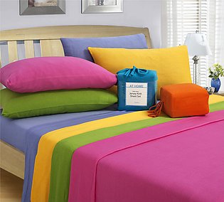 Plain Poly cotton Fitted Bed Sheets Bed Linen in Multicolored