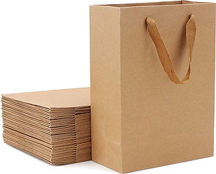 25 Pieces Brown Kraft Paper Gift Bag with Widened Fabric Handle Vertical section