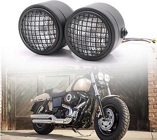 Black Motorcycle Dominator Grill Twins Dual Headlight Streetfighter Double Head…