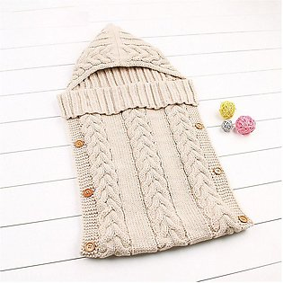 Baby Swaddle Wrap Blanket Infant Girls Boys Knit Crochet Winter Sleeping Bag