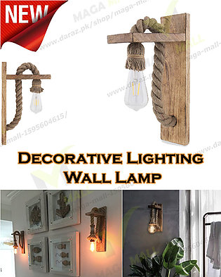 Vintage Wooden Rope Lamp, Creative Metal Shade Wall Lamp for Living Room, Resta…