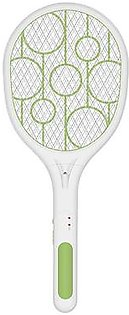 Electric Fly Swatter Rechargeable With Led Lights Electric Bug Fly Mosquito Swatter Killer Racket 3-Layer Net Safe Green+White