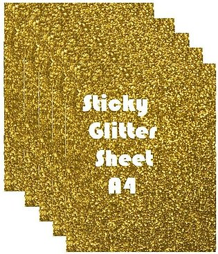 Pack of 5 - Sticky Fomic Glitter Sheets A4 Size for Art Work - Golden