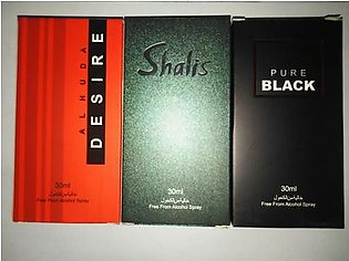 3 bottles perfume of alkohl free pure black desire and shalis of 30 ml each