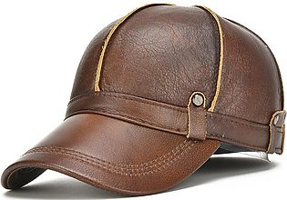 Men Genuine Leather Cowhide Baseball Cap With Ears Flaps Thick Winter Warm Flat…